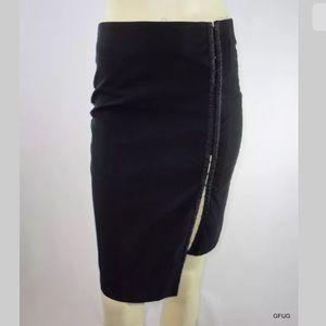 Bebe Black Bodycon Skirt Hook Eye Front Fitted